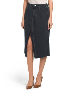 Slit Front Denim Midi Skirt