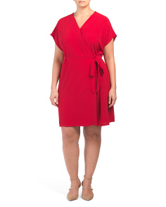 Plus Cap Sleeve Wrap Dress