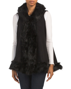 Faux Fur Hooded Knit Vest