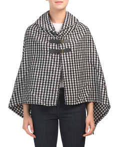 Houndstooth Cape With Double Buckle Closure