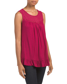 Sleeveless Crochet Front Top