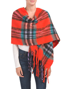 Bright Plaid Noodle Fringe Wrap