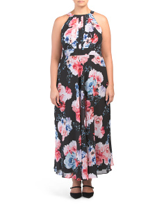 Plus Floral Printed Chiffon Long Gown