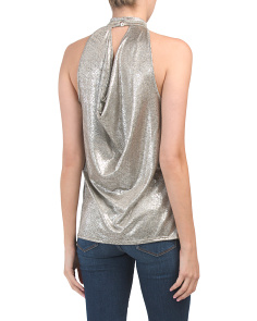 Made In Usa Metallic Drape Back Top