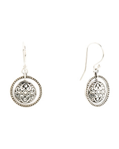 Made In Bali Sterling Silver Filigree Ball Circle Earrings