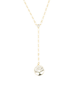 14k Gold Plated Sterling Silver Tree Of Life Y Necklace