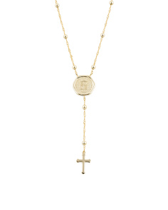 14k Gold Plated Sterling Silver Wax Seal Rosary Necklace