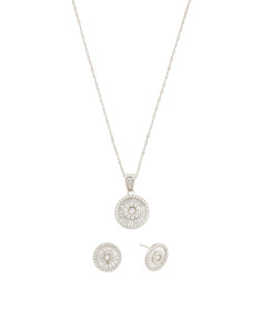 Set Of Sterling Silver Cz Earrings And Necklace