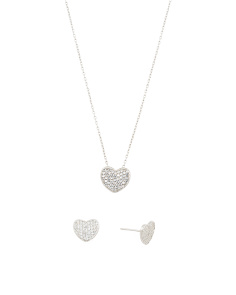 Sterling Silver Cz Hearts Earrings And Necklace Set