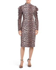 Leopard Print Puff Sleeve Dress