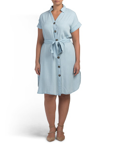 Plus Tencel Short Sleeve Shirt Dress