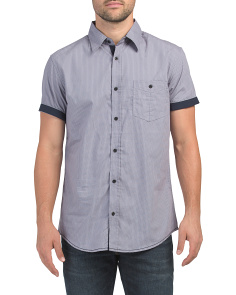 Printed Poplin  Short Sleeve Shirt