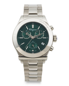 Men's Swiss Made 1898 Sport Green Dial Bracelet Watch