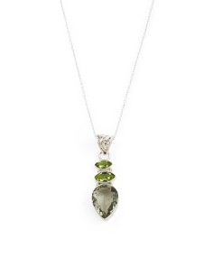 Made In India Sterling Silver Green Amethyst Peridot Necklace