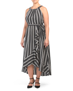 Plus Sleeveless Striped Maxi Dress