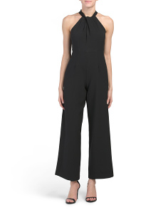 Petite Cross Halter Neck Jumpsuit