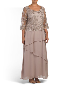 Plus Tiered Dress With Lace Bodice