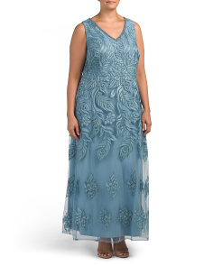 Plus V-neck Embroidered Gown