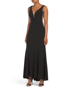 Petite V-neck Gown With Beaded Trim