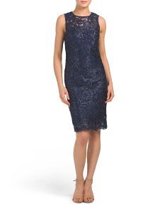 Petite Made In Usa Sequin Lace Dress