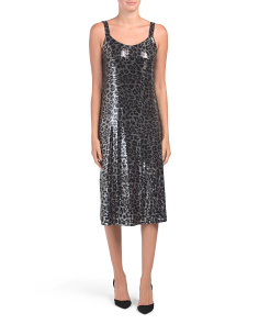Made In Italy Sequin Leopard Midi Dress
