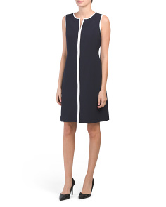 Piped Trim Crepe Dress