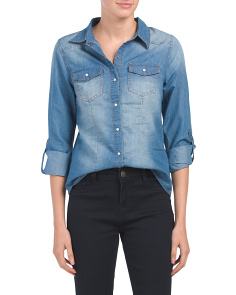 Juniors Snap Front Chambray Top