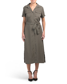 Short Sleeve Utility Maxi Dress