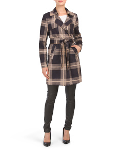 Plaid Faux Suede Trench Coat