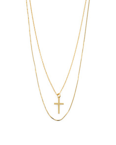 605cfbc93 Made In Italy Plated Sterling Silver 2 Strand Cross Necklace ...