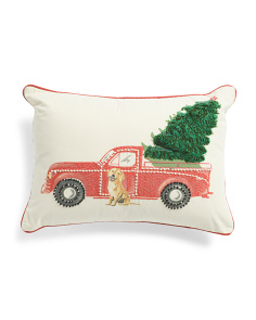 14x20 Truck With Tree And Dog Pillow