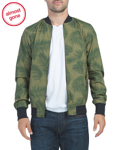 Leaf Pattern Chic Bomber Jacket