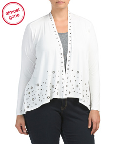 Plus Cardigan With Grommet Detail
