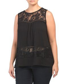 Plus Lace Detail Sleeveless Top