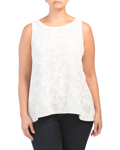 Plus Floral Lace Sleeveless Top