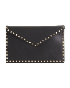 Made In Italy Large Envelope Studded Leather Pouch