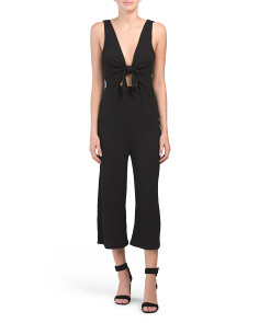 Juniors Sleeveless Crinkle Tie Jumpsuit