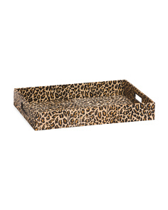 Leather Tray With Leopard Print