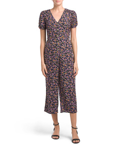 Juniors Button Down Floral Jumpsuit
