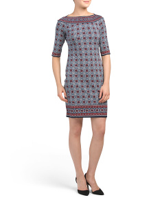 Elbow Sleeve Dial Print Jersey Dress