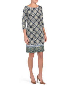 Elbow Sleeve Medallion Print Jersey Dress