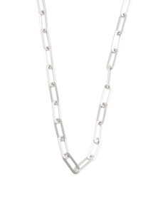 Made In Italy Sterling Silver Flat Oval Link Necklace