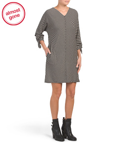 Tie Sleeve Stripe Knit Dress