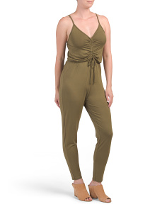 Juniors Sleeveless Ruched Jumpsuit