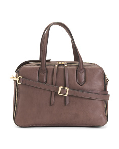 Made In Italy Triple Entry Leather Satchel