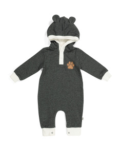 Baby Boys Paw Print Hooded Coverall
