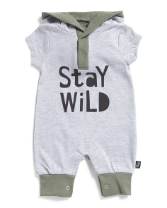 Baby Boys Stay Wild Hooded Coveralls