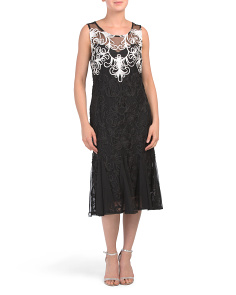 Petite Soutache Tea Length Dress