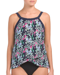 Floral High Neck Tankini Top