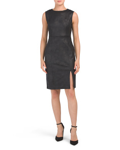 Petite Faux Leather Sleeveless Dress